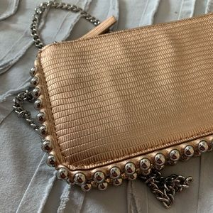 Zara metallic zip clutch